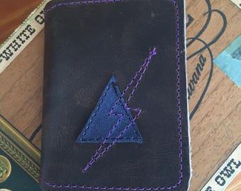 Leather Wallet lightening bolt Brown