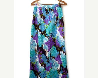 60s maxi skirt - button front floral skirt - 1960s purple and blue maxi skirt - xs