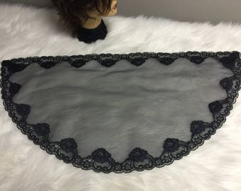 Black  lace net Headcovering - Church or Chapel veil mantilla scarf NEW