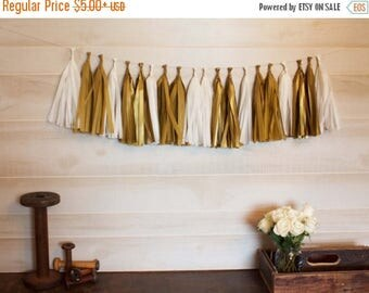 ON SALE Golden Tassel Garland Tissue Paper Tassels Garland Kit Set of 6 to 50 Choose your quantity