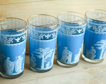 Hellenic Blue Jeanette Glassware ~ Grecian Scene ~ Jasperware / Wedgwood style ~ Vintage Water / Juice Tumbler Glasses set of 4