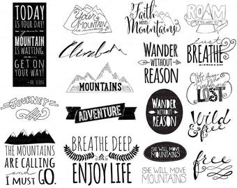 Mountain Word Art PNG & Inspirational Quote Clip Art, Printable Project Life Digital Stamp, Motivational Graduation Card Clip Art