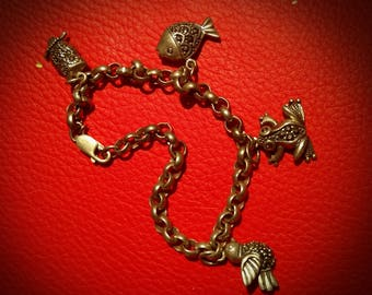 Vintage 925 Sterling Silver and Marcasite Charm Bracelet with 4 Charms. 1930s. Frog Fish Bird Owl