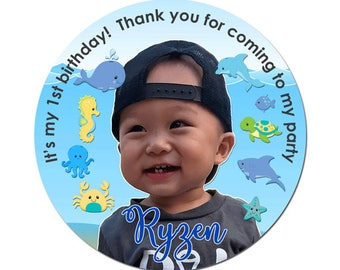 Custom Photo Birthday Labels Under The Sea Theme Round Glossy Favor Stickers