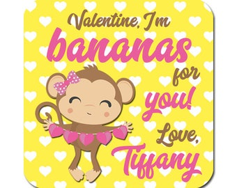 Personalized Valentines Day Stickers Monkey With Hearts Square Glossy Designer Stickers For Girls
