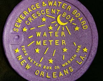 New Orleans Water Meter Cover Purple and Gold LSU