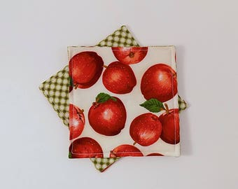 Farm Stand Apple Fabric Coaster Pair Mug Mats Set of Fabric Drink Coasters Fruit Stand Apple Coasters