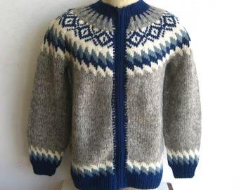 intage Mens XL Hilda Ltd Iceland Wool Knit Zip Front Cardigan Sweater NWT