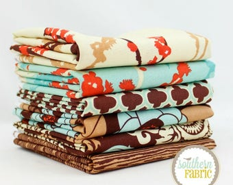 Aviary 2 by Joel Dewberry Saffron 6 - Fat Quarters Quilt Fabric Bundle for Free Spirit
