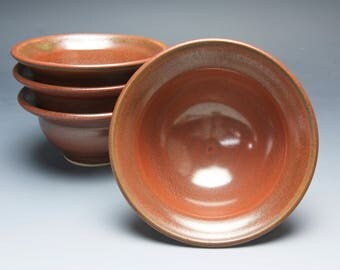 Handmade pottery appetizer, stoneware prep bowls iron red 4050