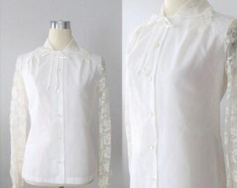 40% OFF SALE Vintage 1970's White Ladies Blouse / Floral Ivory Lace Boho Woman's Shirt Top Size Medium