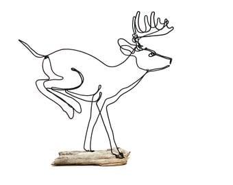 Running Buck Wire Sculpture, Deer Wire Sculpture, Deer Folk Art, 555996780