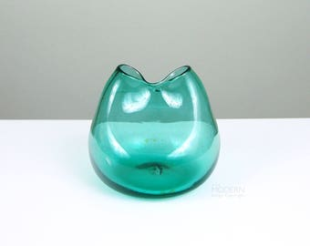 Blenko Glass Aqua Blue Green Pinch Dual Spout Vase