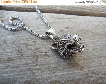 ON SALE Werewolf necklace in sterling silver