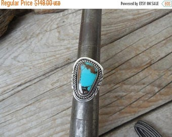 ON SALE Turquoise ring handmade in sterling silver with natural Ithica Peak turquoise