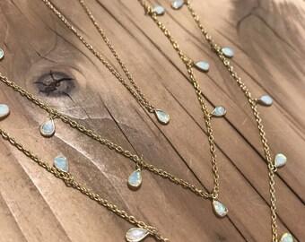 Opal Teardop Choker Necklace, Opal Choker, White Fire Opal, Shaker Choker, Opal Shaker Choker,
