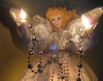 Pretty Lighted Christmas Tree Topper Angel