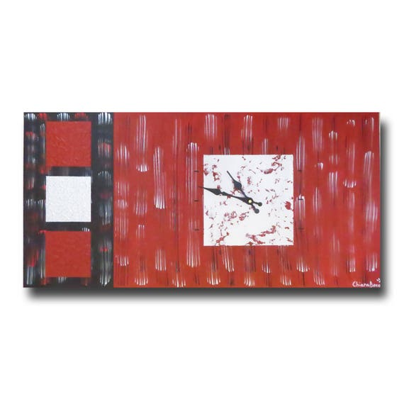 grand tableau toile horloge rouge argent noire moderne design. Black Bedroom Furniture Sets. Home Design Ideas