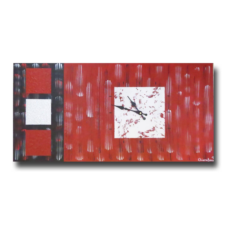 Grand Tableau Toile Horloge Rouge Argent Noire Moderne Design