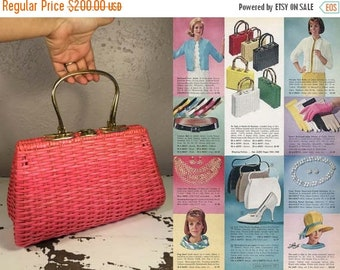 Anniversary Sale 35% Off You'll Need Your Shades  - Vintage Late 1950s 1960s Bright Neon Pink Vinyl Straw Large Handbag - Rare
