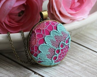 Eclectic Jewelry, Colorful Boho Necklace, Large Pendant With Fabric, Mint And Pink