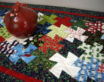 Christmas Table Runner Blue Red Pinwheel Tessellating Pinwheels Quilted Winter Holiday Quiltsy Handmade FREE U.S. Shipping