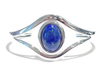 Classic Gemstone Silver Plated Bangle - Blue Lapis Lazuli