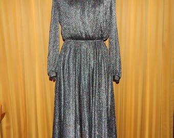 80s Black Shimmer Cocktail Party Evening Dress Bust 38 Waist 30 Hip 42