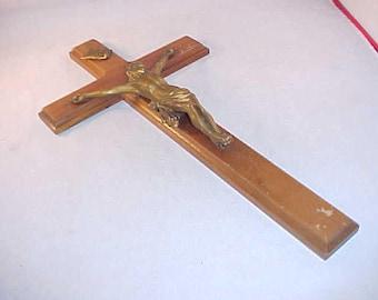 Walnut Wood Crucifix With Metal Figurine