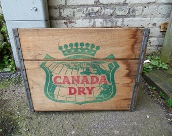 "Vintage Wood Crate ""Canada Dry""  Primitive Rustic storage box advertising"