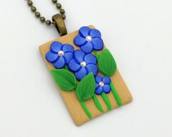Indigo Flower Necklace, 2 Inch High; Polymer Clay Pendant; Floral Necklace; Springtime Fashion; Style #: BLF07