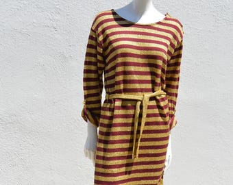 Vintage 70's DOROTHEE BIS metallic knit disco striped lurex dress size L made in France