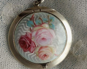 Superbe Antique Roses Sterling Silver Guilloche Enamel Small Pendant Powder Compact.