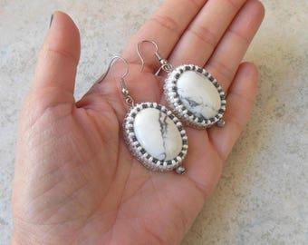 White Earrings Embroidered beaded Earrings Gray White Howlite Large Earrings Dangle earrings Wedding Gift teacher moms Gray Oval Earrings