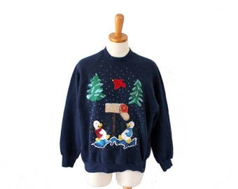 50% half off sale // Vintage 90s Ugly Christmas Sweater // blue Novelty penguin Iron On Sweatshirt // Women Large, Men Small