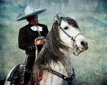 horse decor, Mexican folk art, Mexican decor, restaurant, horse wall art large, Andalusian horse, Andalusian, southwestern decor, canvas art