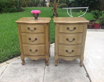 """FRENCH PROVINCIAL NIGHTSTANDS / 28 1/2"""" Tall / Pair of Shabby Chic French Provincial Nightstands / Shabby Chic Cottage at Retro Daisy Girl"""