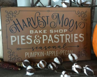 Primitive, Folk Art, Fall, Autumn, Harvest Moon Bake Shop, wood sign