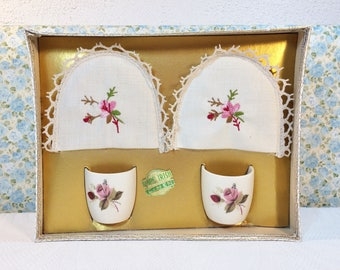 Vintage 50s Floral Rose 2 Egg Cups Set Boxed with Irish Linen Embroidered Covers