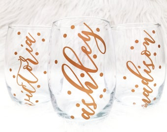 Personalized Stemless Wine Glass Custom Name Wine Glass Bridesmaid Wine Glass Bridesmaid Gift Bride Stemless Bachelorette Party Wine Glass