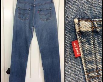 1980s Levis 501 faded blue jeans 34X36, measures 32x33 straight leg button fly black bar stitch denim made in USA boyfriend #335