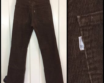 1970s Levi's 519 corduroys 28X30, measures 27x29 brown straight leg corduroy jeans Talon zipper made in USA #1595