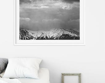 Stormy Mountain Landscape in Black and White   Dramatic Sky Print