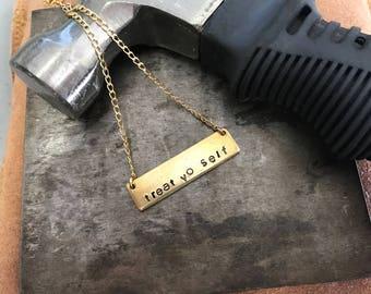 TREAT YO SELF - Custom Engraved Bar Necklace