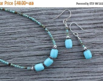 15% off SALE Sleeping Beauty Turquoise Necklace and/or Earrings set by EvyDaywear, gem grade turquoise, one of a kind handmade designer jewe