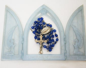 Vintage Rosary  /  Blue Glass Beads and Silver Tone Metal / Catholic Beads for Collector or Gift  /  Religious Pendant