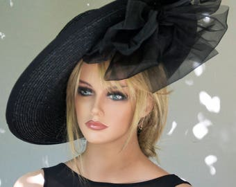 Kentucky Derby Hat, Black Wide Brim Hat, Derby Hat, Ladies Black Hat, Ascot Hat, Saucer Hat