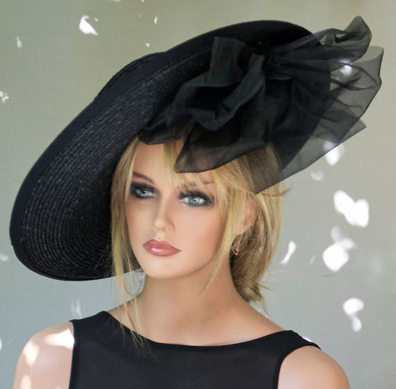 Black Wide Brim Hat Derby Hat Melbourne Cup Hat Women's Black Hat Ascot Hat Horse race Hat Saucer Hat, Occasion Hat, Formal Hat, Elegant Hat