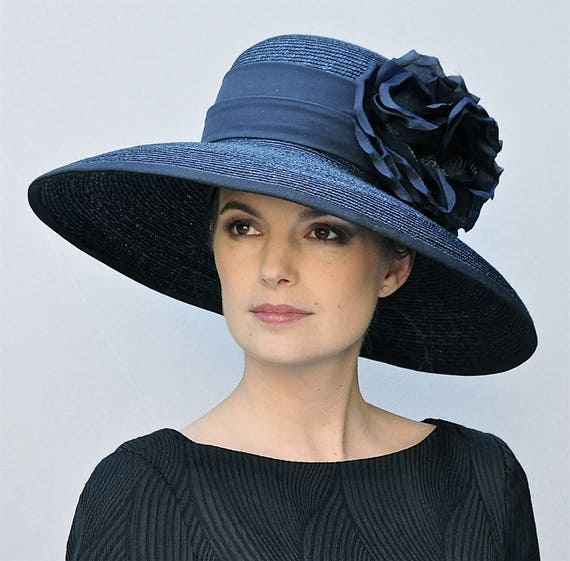 Wedding Hat, Audrey Hepburn Hat, Church Hat, Ascot Hat, Navy hat, Kentucky Derby Hat, Big Hat, Occasion Hat, Ladies Navy Hat