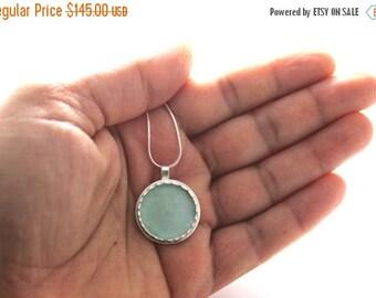 Summer Sale 925 Silver Aqua Roman Glass Pendant Necklace